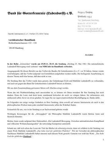 Brief an den Norddeutschen Rundfunk - Bund für Gotterkenntnis ...