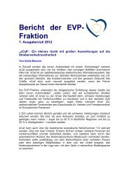 Bericht der EVP- Fraktion 7. Ausgabe/Juli 2012