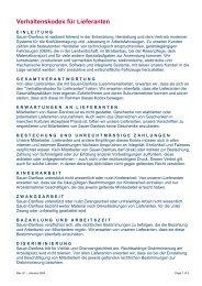 Verhaltenskodex für Lieferanten - Sauer-Danfoss