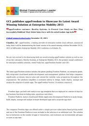 GCL publishes appsFreedom to Showcase its Latest Award Winning Solution at Enterprise Mobility 2013.pdf