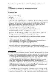 Anlage 5/1, Fachspezifische Bestimmungen der Magisterpr\374fungs
