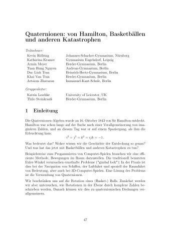 Quaternionen: von Hamilton, Basketbällen und anderen Katastrophen