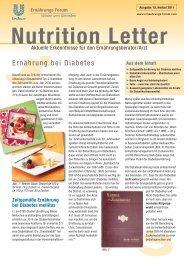 Nutrition Letter= Ernährung bei Diabetes