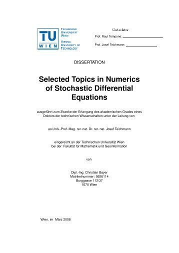 Selected Topics in Numerics of Stochastic Differential Equations - KTH