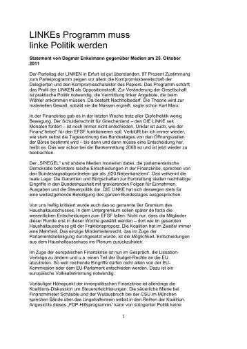 LINKEs Programm muss linke Politik werden - Dagmar Enkelmann