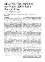 Arbejdsgiver ikke erstatningsansvarlig for psykisk lidelse i form af ...