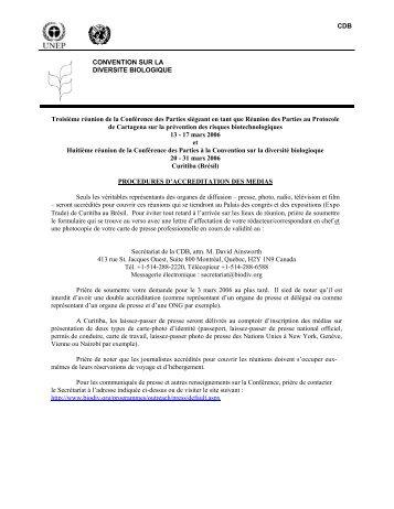 CDB CONVENTION SUR LA DIVERSITE BIOLOGIQUE Troisième ...