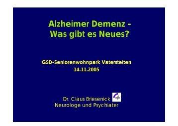 Alzheimer Demenz - Was gibt es Neues? - Praxis Dr.med. Briesenick