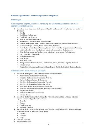 Kontrollfragen und –aufgaben Grundlagen Grundlegende Begriffe ...