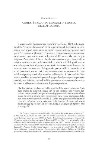 Come si è tradotto Leopardi in tedesco nell'Ottocento - Provincia di ...
