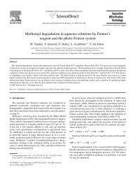 Methomyl degradation in aqueous solutions by Fenton's reagent ...