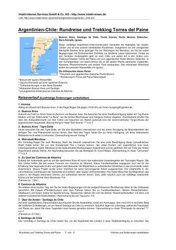 Argentinien-Chile: Rundreise und Trekking Torres ... - Intakt-Reisen