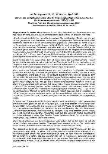 Strukturanpassungsgesetz 1996 - Volker Kier