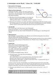 2. Schulaufgabe aus der Physik * Klasse 10a * 20.05.2009