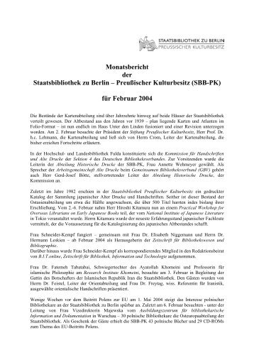 Februar 2004 - Staatsbibliothek zu Berlin