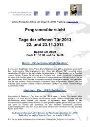 Programmübersicht Tage der offenen Tür 2013 22. und 23.11.2013