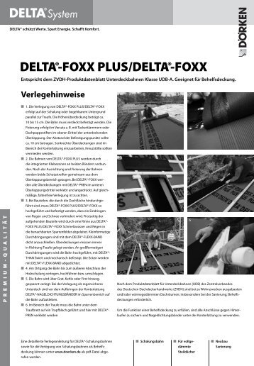 Verlegehinweise und Ausschreibungstexte DELTA®-FOXX PLUS ...
