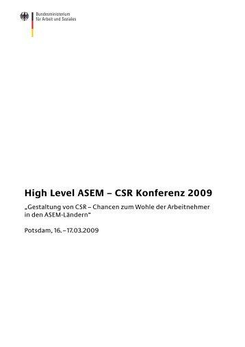 High Level ASEM – CSR Konferenz 2009 - Bundesministerium für ...
