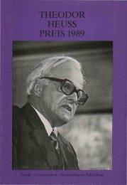 Preisverleihung 1989 - Theodor-Heuss-Stiftung