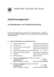 Gebührenreglement - Gemeinde Hausen am Albis