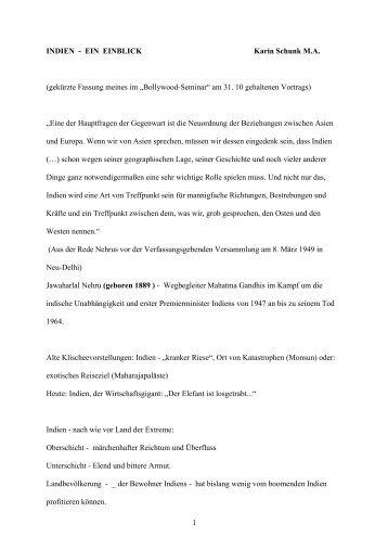1 INDIEN - EIN EINBLICK Karin Schunk M.A. (gekürzte Fassung ...
