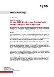 Medienmitteilung Linthal 2015: Durchschlag Druckschacht 1 ... - Axpo