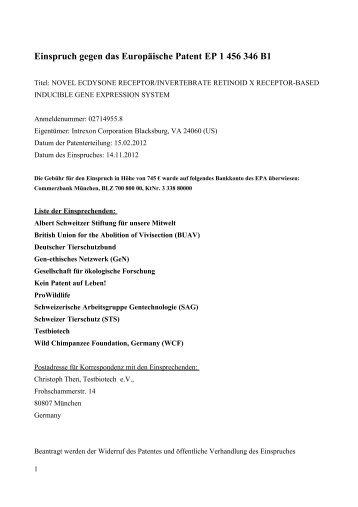Einspruch_Intrexon_EP1456346.pdf - Testbiotech