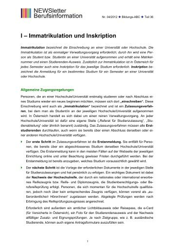 I – Immatrikulation und Inskription