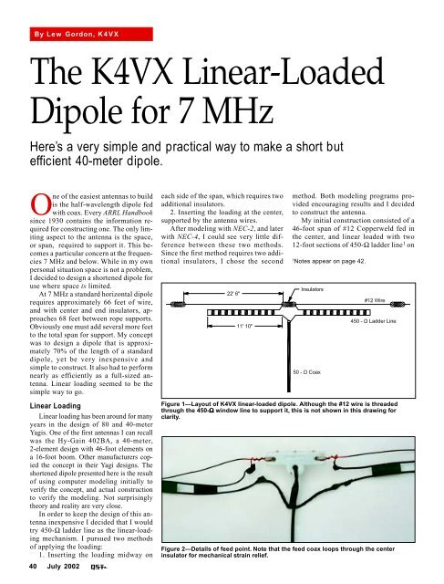 The K4VX Linear-Loaded Dipole for 7 MHz - ARRL