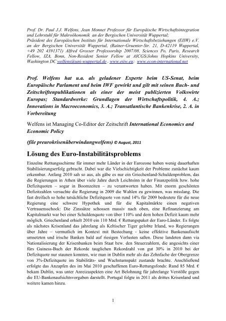 Lösung des Euro-Instabilitätsproblems - EIIW