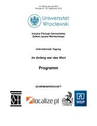 Tagungsprogramm - Instytut Filologii Germańskiej