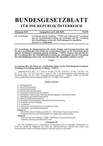 Verordnung optische Strahlung – VOPST samt ... - Arbeitsinspektion