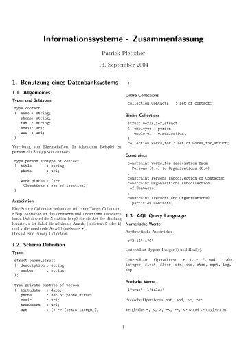 Informationssysteme - Zusammenfassung - Patrick Pletscher