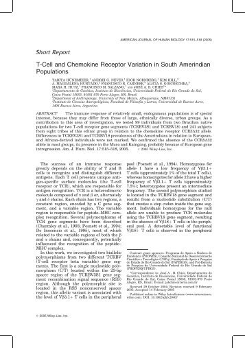 T-Cell and chemokine receptor variation in South Amerindian ...