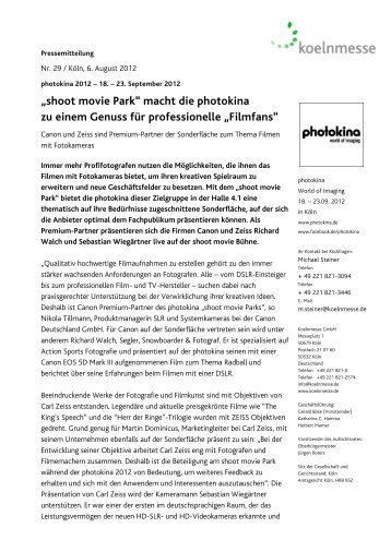 """shoot movie Park"" macht die photokina - Press1"