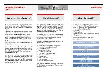 Flyer Einstellungstest - Sparkasse Hochfranken