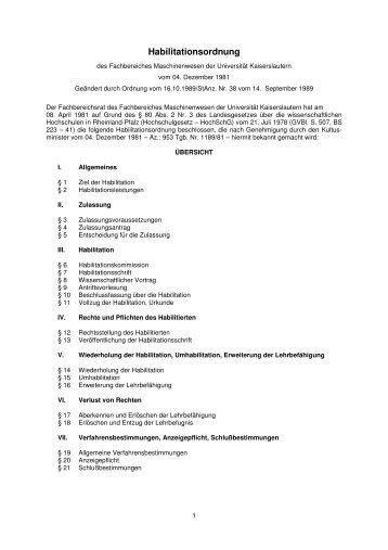 Habilitationsordnung - Universität Kaiserslautern
