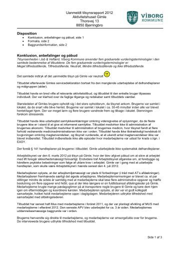 Uanmeldt tilsynsrapport 2012 Aktivitetshuset ... - Viborg Kommune