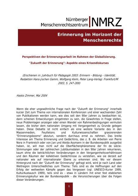 Erinnerung im Horizont der Menschenrechte - www ...