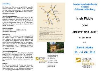 Irish Fiddle - Landesmusikakademie Hessen