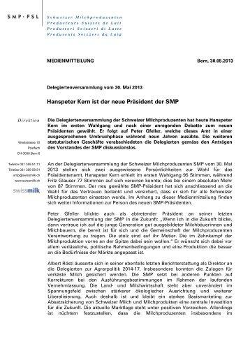 Hanspeter Kern ist der neue Präsident der SMP (PDF ... - Swissmilk