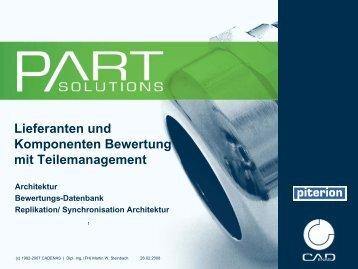 Lieferanten und Komponenten Bewertung mit Teilemanagement ...