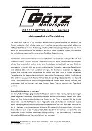 Langstreckenmeisterschaft Nürburgring / Lauf 8 - GÖTZ motorsport