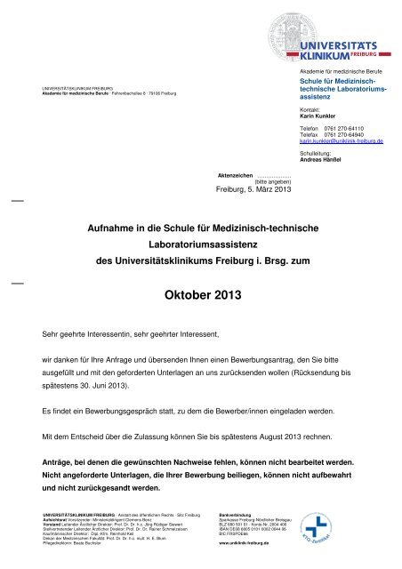 Bewerbungsantrag Universitatsklinikum Freiburg
