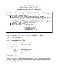 MICROPROGRAMME DE PREMIER CYCLE EN ESPAGNOL ...