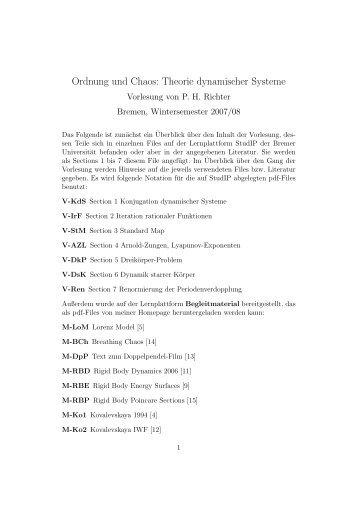 Ordnung und Chaos: Theorie dynamischer Systeme - Institut für ...