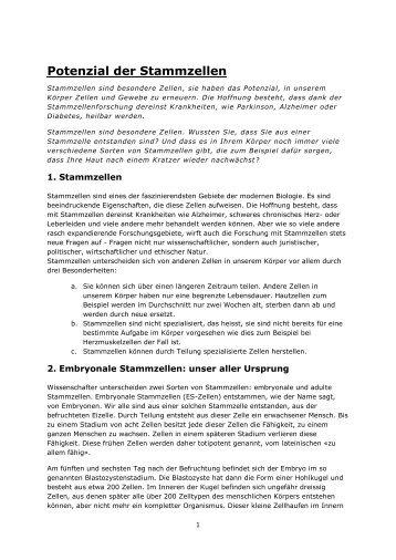 Text zu Kapitel Stammzellen - Biotech Lerncenter - Interpharma