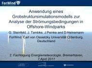 G. Steinfeld, J. Tambke, J. Peinke und D. Heinemann; ForWind ...