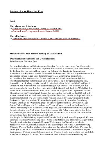 Presseartikel - Urs Engeler Editor
