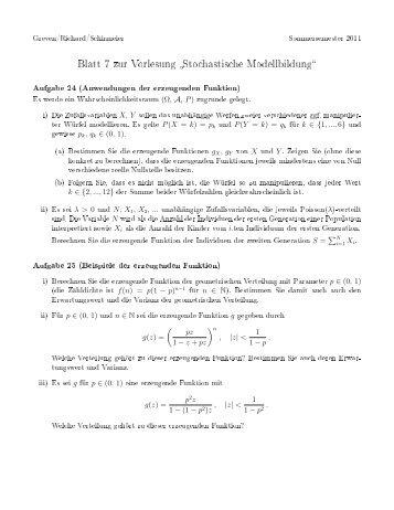 Blatt 7 zur Vorlesung Stochastische Modellbildung